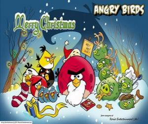 angry birds wishing you a merry christmas puzzle printable jigsaw - Christmas Angry Birds