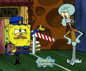 SpongeBob dressed as a policeman asks a pass to Squidward Tentacles puzzle