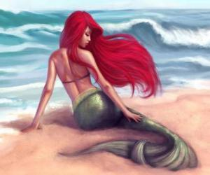 A beautiful mermaid on the shore puzzle