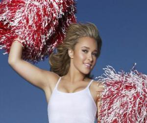 A cheerleader with pom-poms during the show puzzle