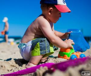 A child playing on the beach puzzle
