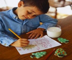 A child writing a letter to Santa Claus puzzle