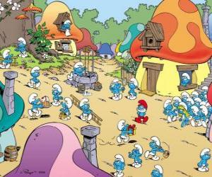 A day in the village of the Smurfs puzzle