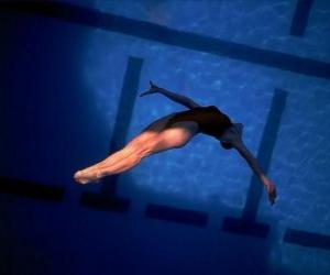 A female diver jump forward puzzle