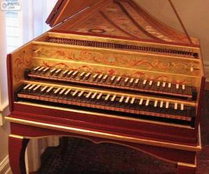 A harpsichord is a musical instrument played by means of a keyboard puzzle