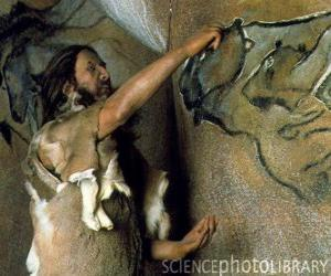 A prehistoric artist realising a cave painting representing a buffalo in the wall of a cave while is observed by a dinosaur from outside puzzle