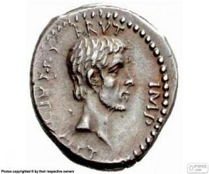 A silver coin of ancient Rome puzzle