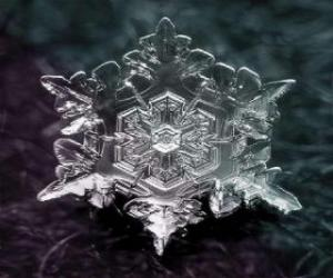A small ice crystal snowflakes form puzzle