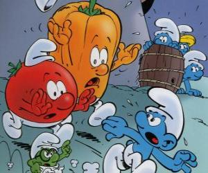 A Smurf is pursued by a tomato and pepper puzzle
