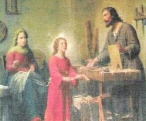 A young Jesus working as a carpenter with his father Joseph puzzle