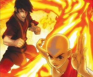 Aang and Zuko fighting puzzle
