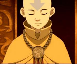 Aang is a 12 years old boy that has spent 100 years frozen in an iceberg with his flying bison puzzle
