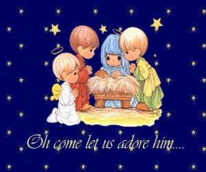 Adoring Jesus child. Precious Moments puzzle