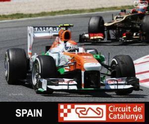 Adrian Sutil - Force India - Circuit de Catalunya, Barcelona, 2013 puzzle