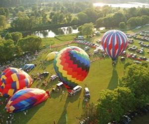 Aerial view of a hot air balloon festival puzzle