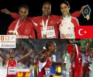 Alemitu 5000 m champion Bekele, Elvan Abeylegesse and Sara Moreira (2nd and 3rd) of the European Athletics Championships Barcelona 2010 puzzle