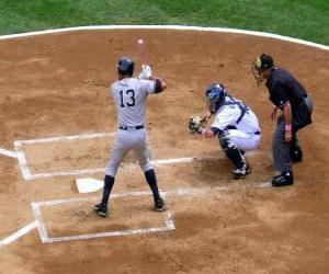 Alex Rodriguez (batter) and catcher ready for launch puzzle