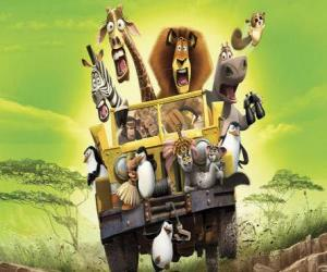 Alex the Lion driving a jeep with his friends Gloria, Melman, Marty and other protagonists of the adventures puzzle