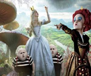Alice, along with the twins and the Red Queen puzzle