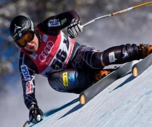 Alpine skier practicing a downhill puzzle