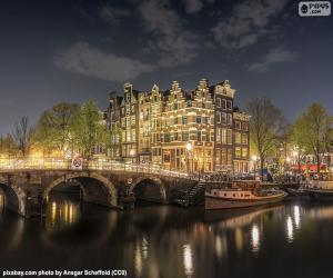 Amsterdam by night, Netherlands puzzle