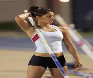 An athlete preparing to pole vault puzzle