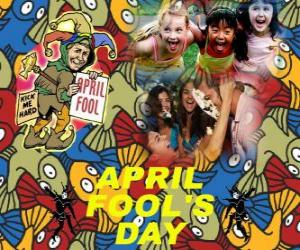 April Fools' Day celebrated on April 1 devoted to jokes in many countries puzzle