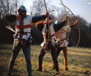 Archers, medieval soldiers armed with a bow puzzle