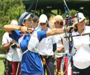 Archery - Archer pointing to the target in the open air puzzle