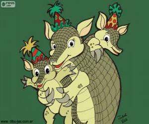 Armadillos at a party, a drawing by Julieta puzzle