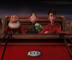 Arthur Christmas, Grand-Santa and Bryony on the old sled ready to distribute the last gift puzzle