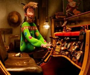 Arthur Christmas watching the old sled puzzle