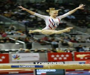Artistic gymnastics - Exercise in the balance beam puzzle