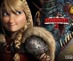 Astrid with her winged dragon Stormfly, How to Train Your Dragon 2 puzzle