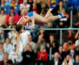 Athlete doing a pole vault puzzle