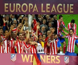 Atlético Madrid, champion of the UEFA Europe League 2011-2012 puzzle