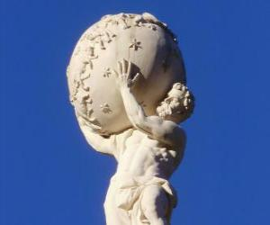 Atlas, titan in greek mythology that sustains the earth on his shoulders puzzle