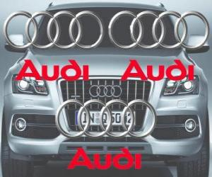Audi logo, German car brand puzzle