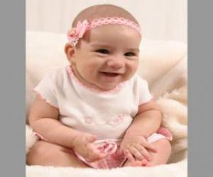 Baby, happy, seated on the floor puzzle