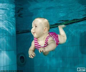 Baby swimming underwater puzzle