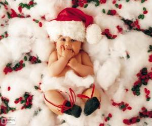 Baby with hat of Santa Claus puzzle