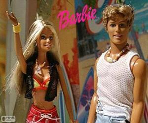 Barbie and Ken in summer puzzle