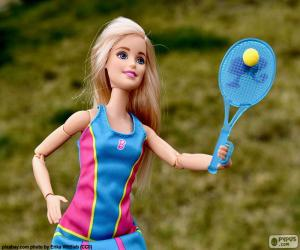 Barbie playing tennis puzzle