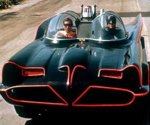 Batman and Robin in his Batmobile puzzle