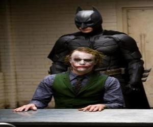 Batman interrogating his enemy the Joker puzzle