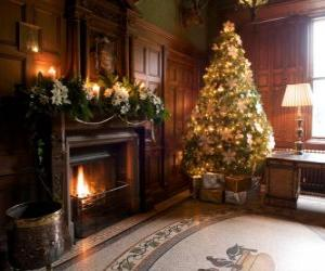 Beautiful fireplace decorated for Christmas celebrations puzzle