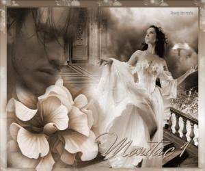 Beautiful princess with her beloved prince thought puzzle