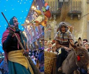 Befana is a smiling old woman flying on a broom carrying candy or coal to the children in Italy puzzle