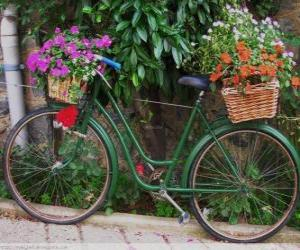Bicycle with baskets full of flowers puzzle