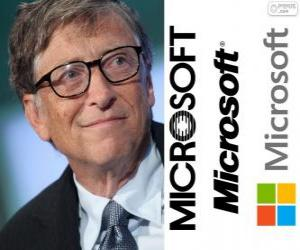 Bill Gates, american computer programmer and business magnate, co-founder of the Microsoft software company puzzle